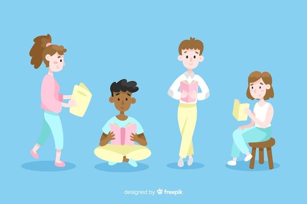 Ilustración de jóvenes que pasan tiempo leyendo