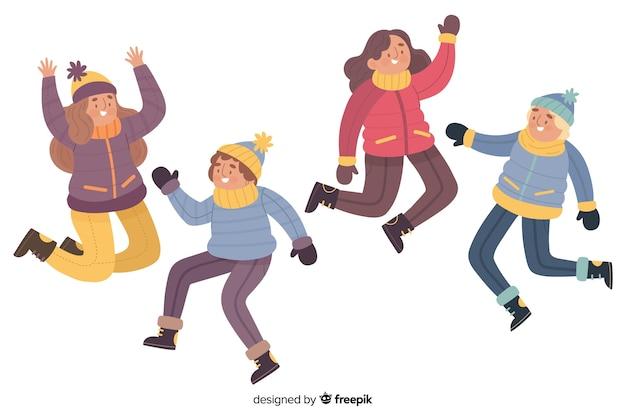 Ilustración de jóvenes saltando mientras usan ropa de invierno