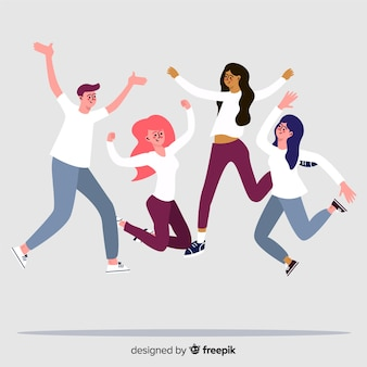 Ilustración de jóvenes saltando