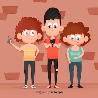 Ilustración con jóvenes con teléfonos