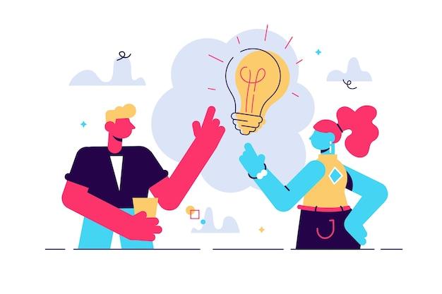 Ilustración de los jóvenes tienen idea. pareja que tiene solución, metáfora de bombilla de lámpara de ideas en el bocadillo de diálogo anterior. pregunta resuelta. pensamiento creativo.
