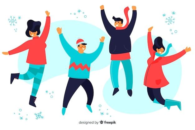 Ilustración jóvenes vistiendo ropa de invierno saltando