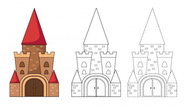 Ilustración del juego educativo para niños y libro para colorear