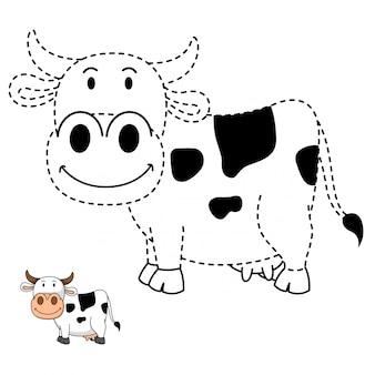 Ilustración del juego educativo y la vaca para colorear