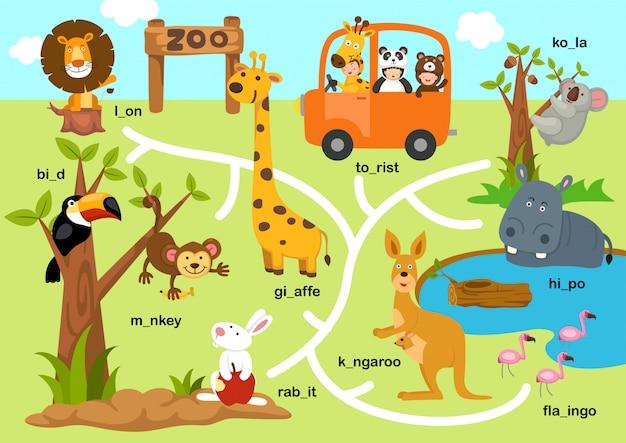 Ilustración de juego de laberinto de educación