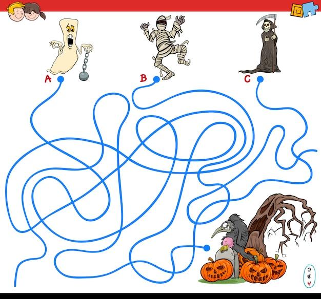 Ilustración del juego de laberinto de líneas con personajes de halloween