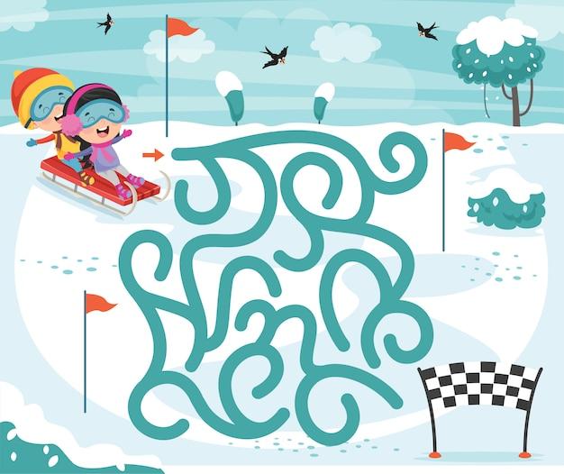 Ilustración de juego de laberinto para niños
