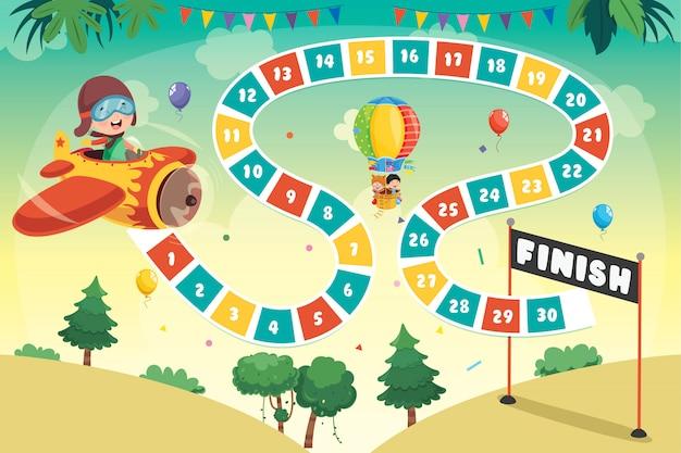 Ilustración de juego de mesa de números para educación infantil