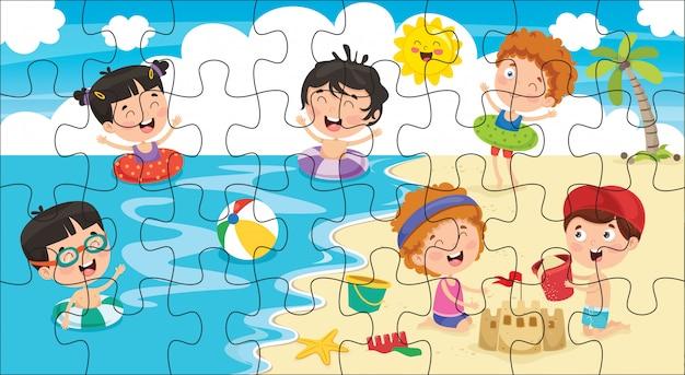 Ilustración del juego de rompecabezas para niños