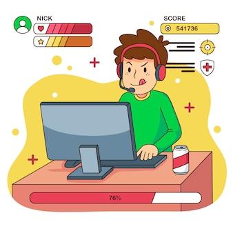 Ilustración de juegos en línea