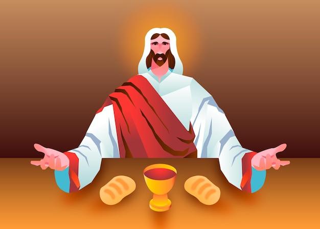 Ilustración de jueves santo degradado