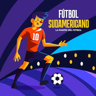 Ilustración de jugador de fútbol sudamericano de dibujos animados