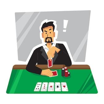 Ilustración de jugador de póker burlas