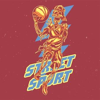 Ilustración del jugador de streetball esqueleto