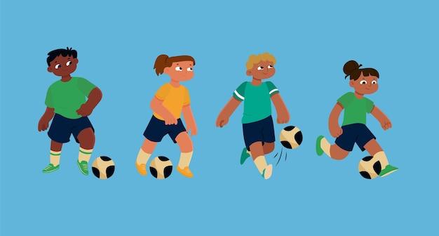 Ilustración de jugadores de fútbol de dibujos animados