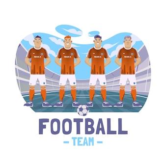Ilustración de jugadores de fútbol plana