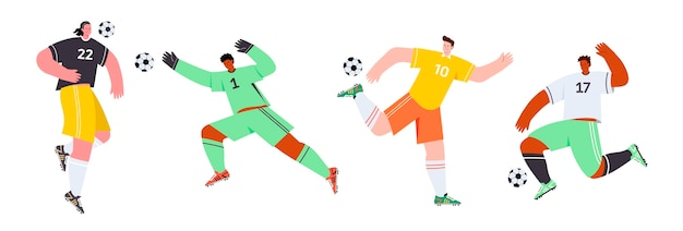 Ilustración de jugadores de fútbol