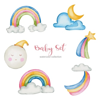 Ilustración de juguetes y accesorios de bebé acuarela. conjunto de cosas para bebés de la naturaleza