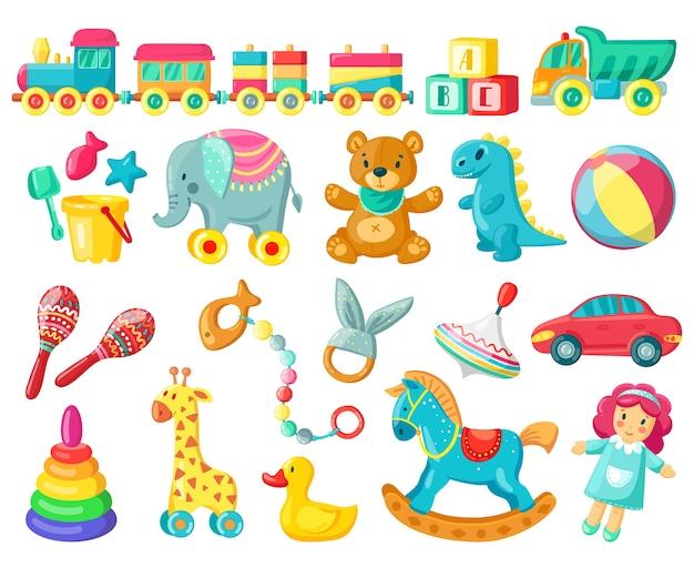 Ilustración de juguetes de madera y plástico para bebés.