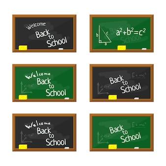 Ilustración de la junta escolar plana verde y negra con marco de madera.