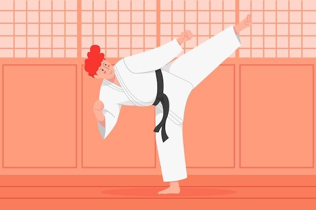 Ilustración de karate
