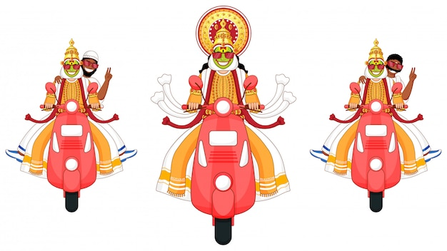 Ilustración de kathakali dancer, south indian man y muslim man montando en scooter en tres opciones.