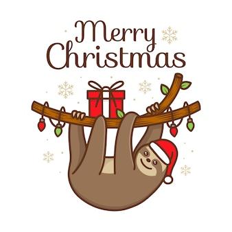 Ilustración de kawaii lindo perezoso navidad