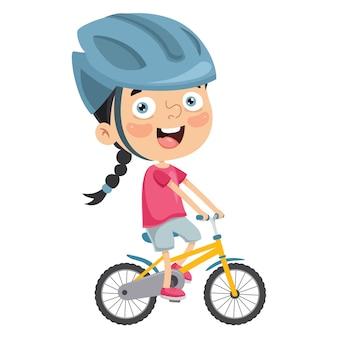 Ilustración de kid riding bike