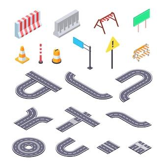 Ilustración de kit isométrico de carretera en construcción