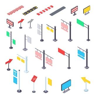 Ilustración de kit isométrico de señales de tráfico de calle