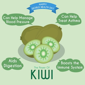 Ilustración del kiwi y sus beneficios.