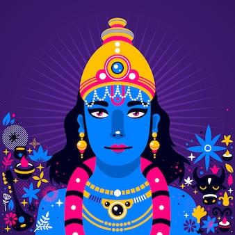 Ilustración de krishna sobre fondo violeta profundo con elementos abstractos