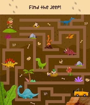 Ilustración de laberinto para niños con explorador y dinosaurios.