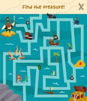 Ilustración de laberinto para niños con piratas y tesoros.