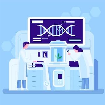 Ilustración de laboratorio de biotecnología plana