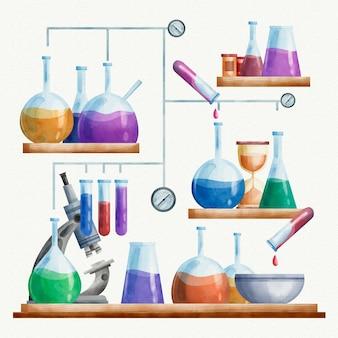 Ilustración de laboratorio de ciencias de acuarela