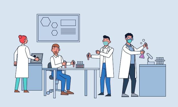 Ilustración de laboratorio de investigación de ciencia