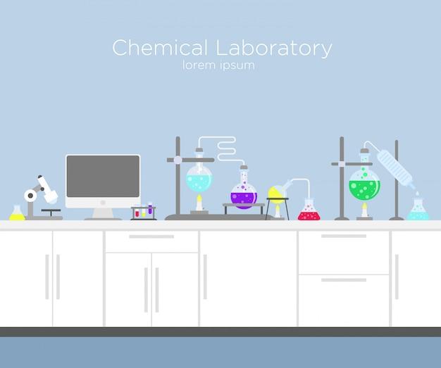 Ilustración de laboratorio químico. infografía química con varias soluciones y reacciones químicas, computadora y diferentes herramientas.