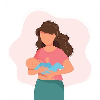 Ilustración de la lactancia materna, madre alimentando a un bebé con mama.
