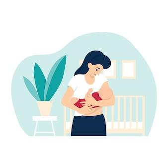 Ilustración de la lactancia materna, madre alimentando a un bebé con pecho en casa, con fondo de vivero con cuna, planta de la casa y marcos. ilustración del concepto en estilo de dibujos animados