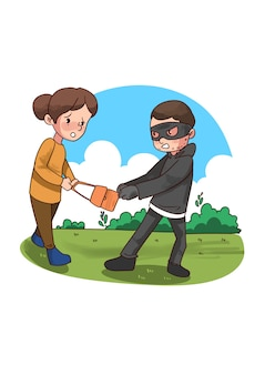Ilustración de ladrón arrebatando bolsa de mujer