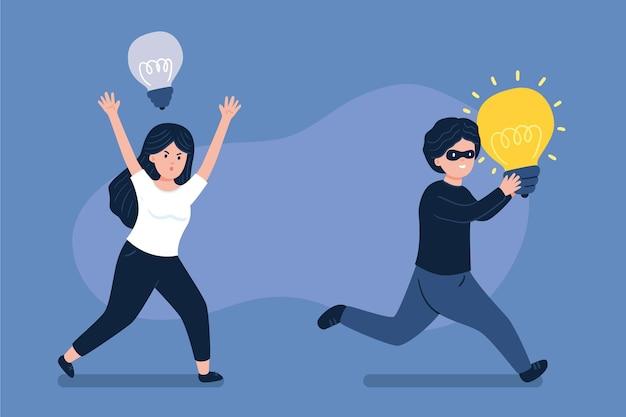 Ilustración de ladrón robando una idea.