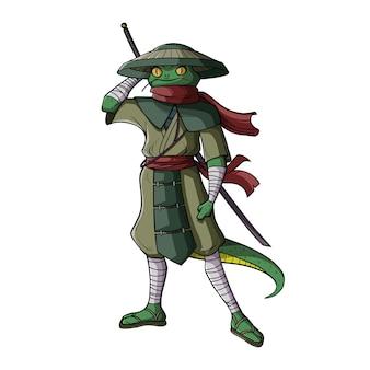 Ilustración de lagarto samurai