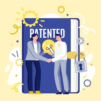 Ilustración laica de patente de copyright