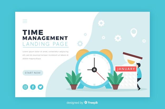 Ilustración para landing page con concepto de gestión del tiempo.