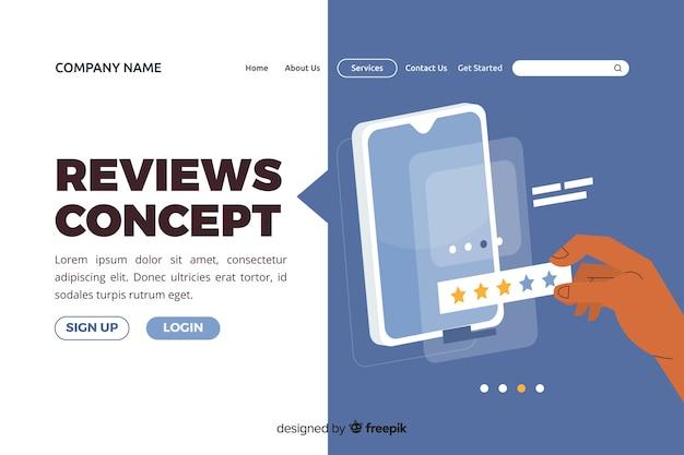 Ilustración para landing page con concepto de reseñas.