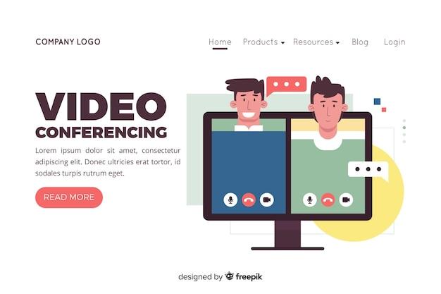 Ilustración para landing page con concepto de videoconferencia.