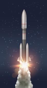 Ilustración del lanzamiento de un cohete de carrera al cosmos