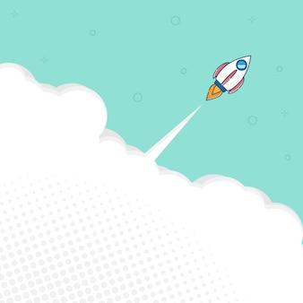 Ilustración de lanzamiento de cohete con fondo de vector de diseño plano de espacio