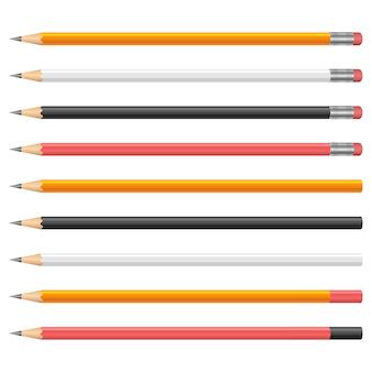 Ilustración de lápices de grafito sobre fondo blanco.